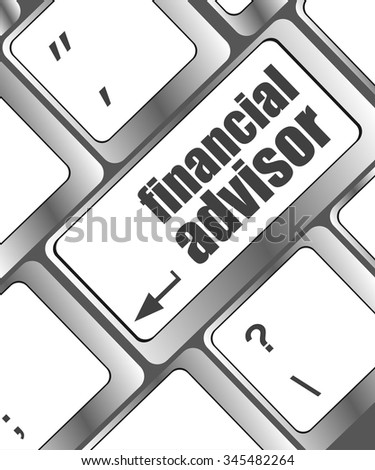 keyboard key with financial advisor button, business concept  vector illustration