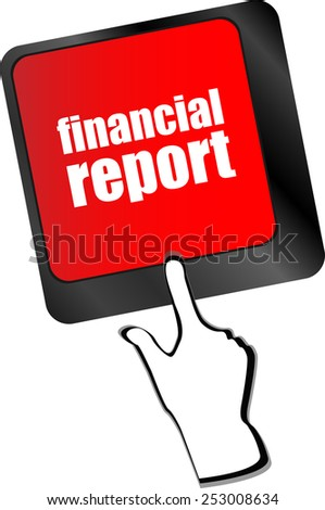 keyboard key with financial report button - stock vector