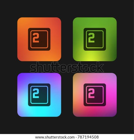 Keyboard key with number 2 four color gradient app icon design