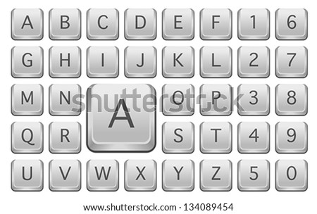 Keyboard Keys With Alphabet Letters - Isolated on White - stock vector