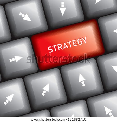 keyboard with business strategy - stock vector