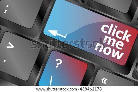 Keyboard with click me now button, internet concept . keyboard keys. vector illustration - stock vector