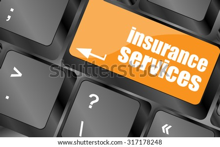 Keyboard with insurance services button, internet concept, vector illustration - stock vector