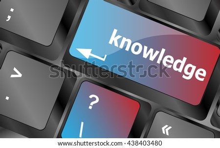 keyboard with key knowledge. computer device for input of symbols . keyboard keys. vector illustration - stock vector