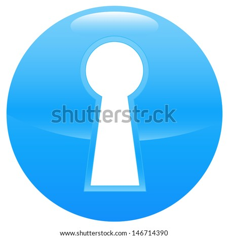 Keyhole blue icon on a white background - stock vector