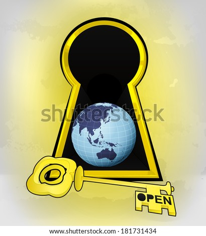 keyhole golden entrance to Asia world behind vector illustration - stock vector