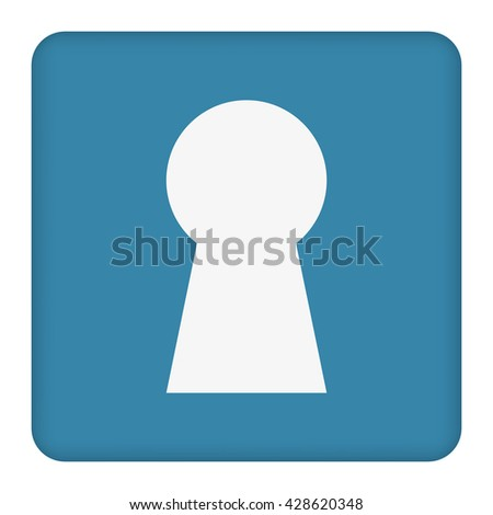 Keyhole icon on a blue background.