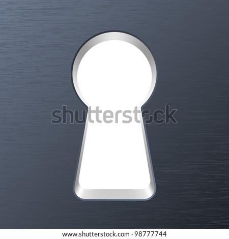 Keyhole in a metal door. Vector - stock vector