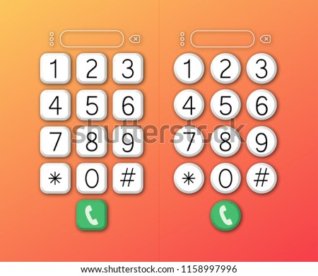 keypad numbers letters phone user interface stock vector (royalty