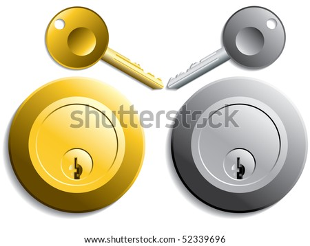 Keys and locks in gold and silver color - stock vector