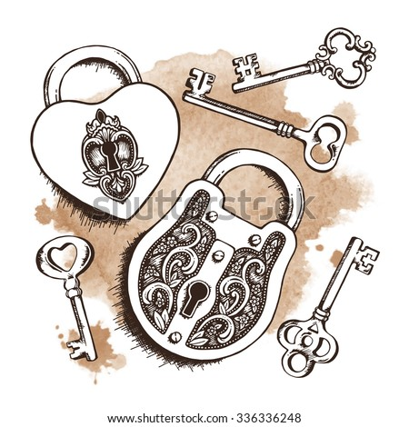 Keys and locks over watercolor background. Isolated Vector illustration. Heart shaped padlock with wings in vintage engraved style with elegant keys. Coloring book page for kids and adults - stock vector