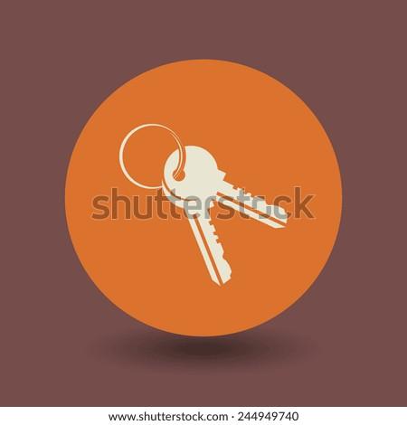 Keys icon or sign, vector illustration - stock vector