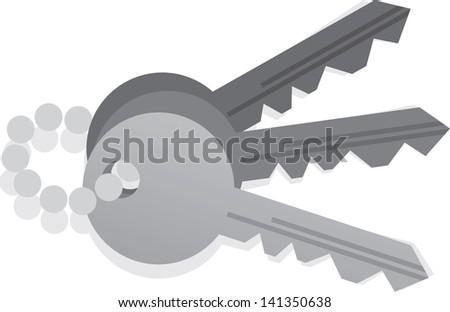 Keys isolated on a key chain  - stock vector