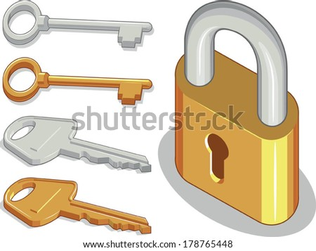 Keys & Lock or Padlock - stock vector
