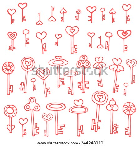 Keys of hearts. Hand-drawing set of doodle keys. Easy to edit and recolor. - stock vector