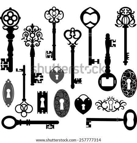 Keys Silhouette - stock vector