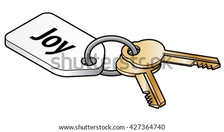 Keys to joy concept. Two brass keys on key ring with a white tag. - stock vector
