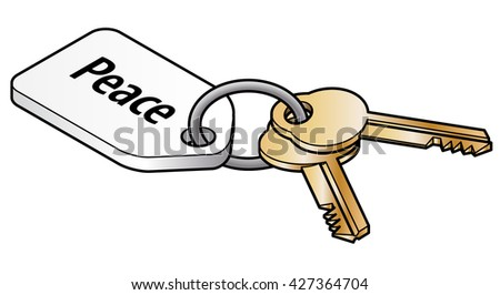 Keys to peace concept. Two brass keys on key ring with a white tag. - stock vector