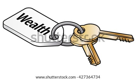 Keys to wealth concept. Two brass keys on key ring with a white tag. - stock vector