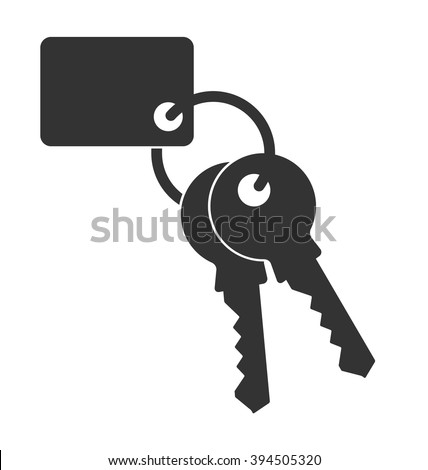 Keys with keychain. Vector illustration. Icon of door keys or car keys. Outline  isolated silhouette. Concept for the purchase of real estate or realtor services logo. - stock vector