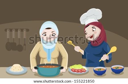 Khaliji Ladies In The Kitchen-vector - stock vector