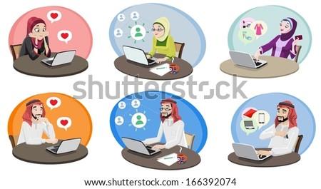 Khaliji People Using The Internet 1-vector - stock vector