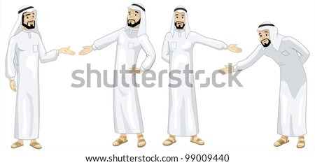 Khaliji Welcoming Men-vector - stock vector