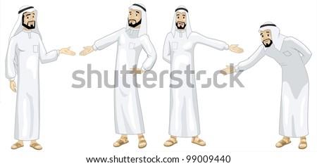Khaliji Welcoming Men-vector - stock vector