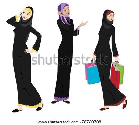 Khaliji Women Icons In Standing Positions-vector - stock vector
