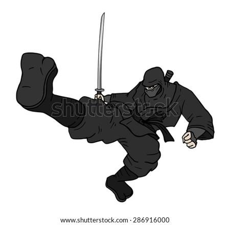 kick ninja - stock vector