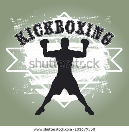 kickboxing grunge shield - stock vector
