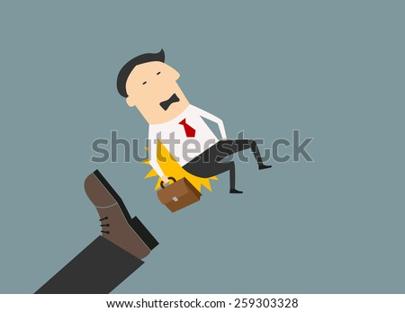 Kicked out businessman with briefcase in flat style for dismission concept - stock vector