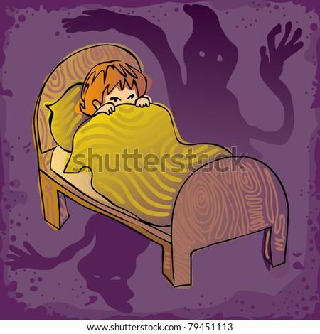 kid afraid in the dark, seeing ghosts - stock vector