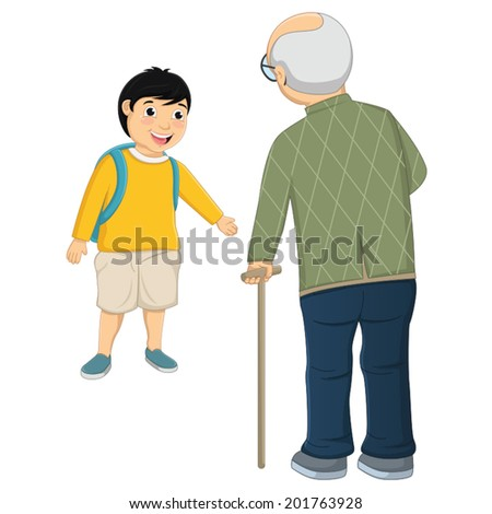 Kid and Old Man Vector Illustration - stock vector