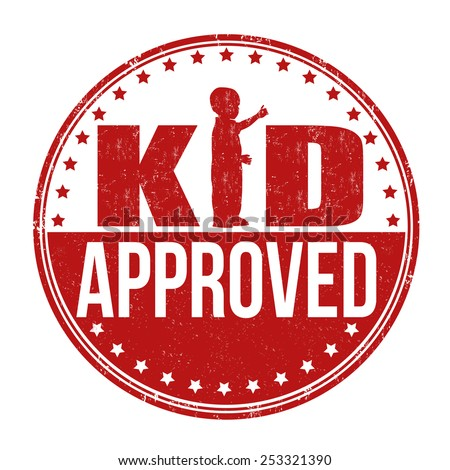 Kid approved grunge rubber stamp on white background, vector illustration - stock vector