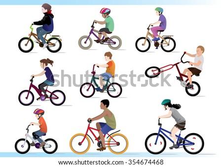 kid bikers. Have fun! - stock vector