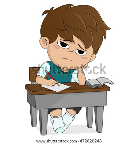 kid boring about someting.back to school.vector and illustration.