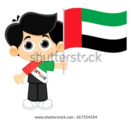 Kid Celebrating UAE National Day - stock vector