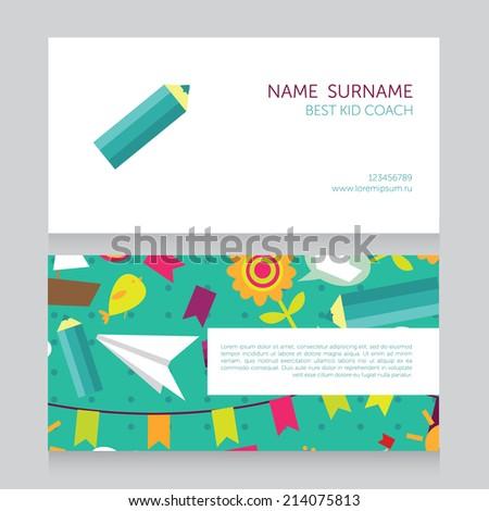 kid coach business card vector