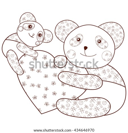 Kid Coloring Book Page Cute Panda With Heart And Baby Brown Outline Whimsical