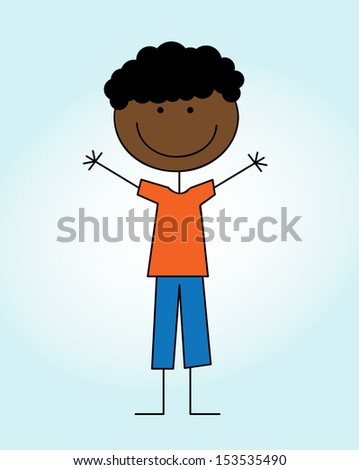 kid design over blue background  vector illustration  - stock vector