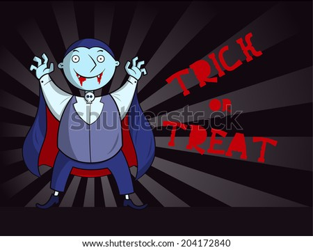 Kid dressed in halloween vampire costume - stock vector