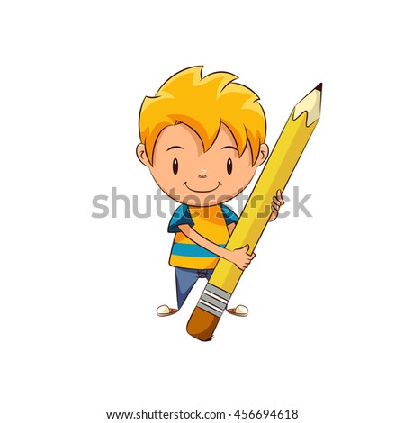 Kid erasing, big pencil, vector illustration