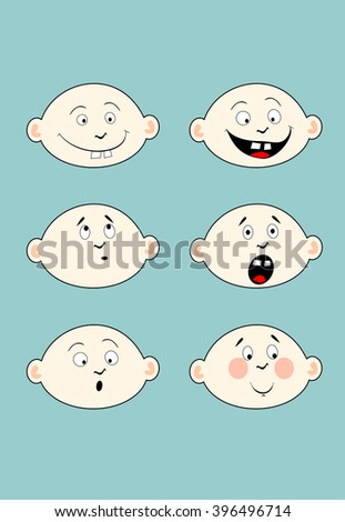 Kid faces. Cartoon vector image of children's emotions. - stock vector