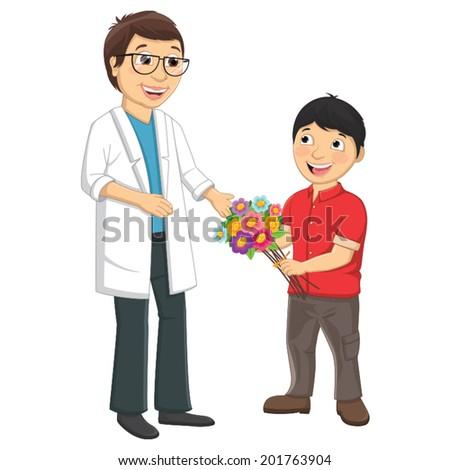 Kid Give Flower To Teacher Vector Illustration - stock vector
