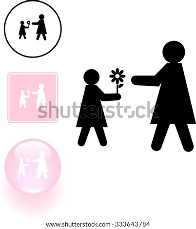 kid giving a flower to her mother symbol