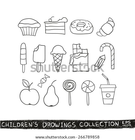 Kid hand drawing tasty food collection. Line sketch illustration of child vector doodles set: muffin, cake, pie, donut, croissant, confection, candy, lollipop, ice cream, chocolate, apple, pear, drink - stock vector