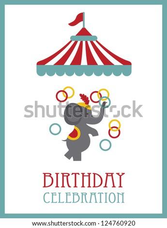 kid happy birthday card design. circus animal. vector illustration - stock vector