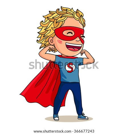 Kid - Hero. Super Boy. Person in a red mask and cape. Vector illustration on white background.