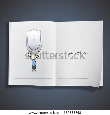 Kid holding a computer mouse printed on book. Vector design.  - stock vector